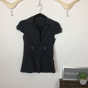 BCBGMAXAZRIA Black Collared Cap Sleeve Blouse Top